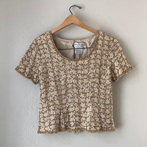 Vintage Silk Beaded Blouse